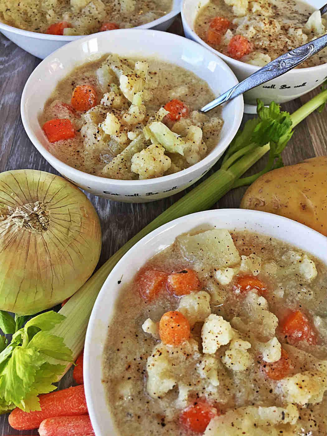Vegan Creamy Cauliflower Tofu Soup