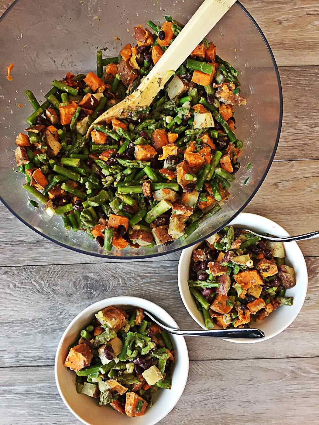 sweet potato asparagus wfpb salad with black beans