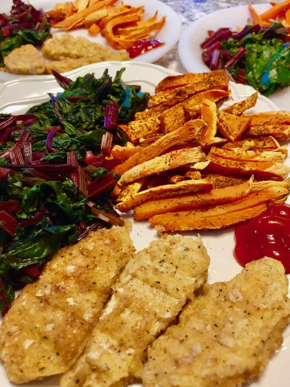 cajun sweet potato oven fries with ketchup